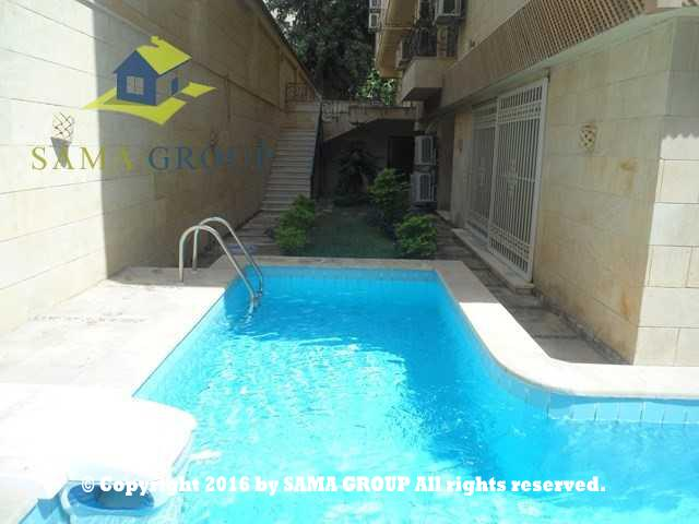 Semi Furnished Ground floor With Pool Apartment For Rent In Maadi